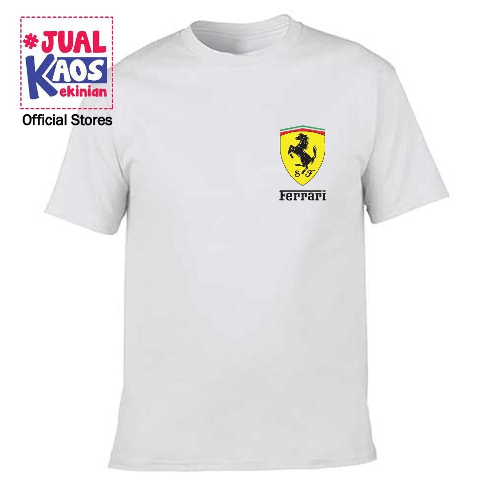 Kaos JP Jual Kaos Jualkaos murah / Terlaris / Premium / tshirt / katun import / lelinian / terkini / keluarga / pasangan / pria / wanita / couple / family / anak / surabaya / distro / ferrari logo / mobil balap / supercar  / ferraricar putih