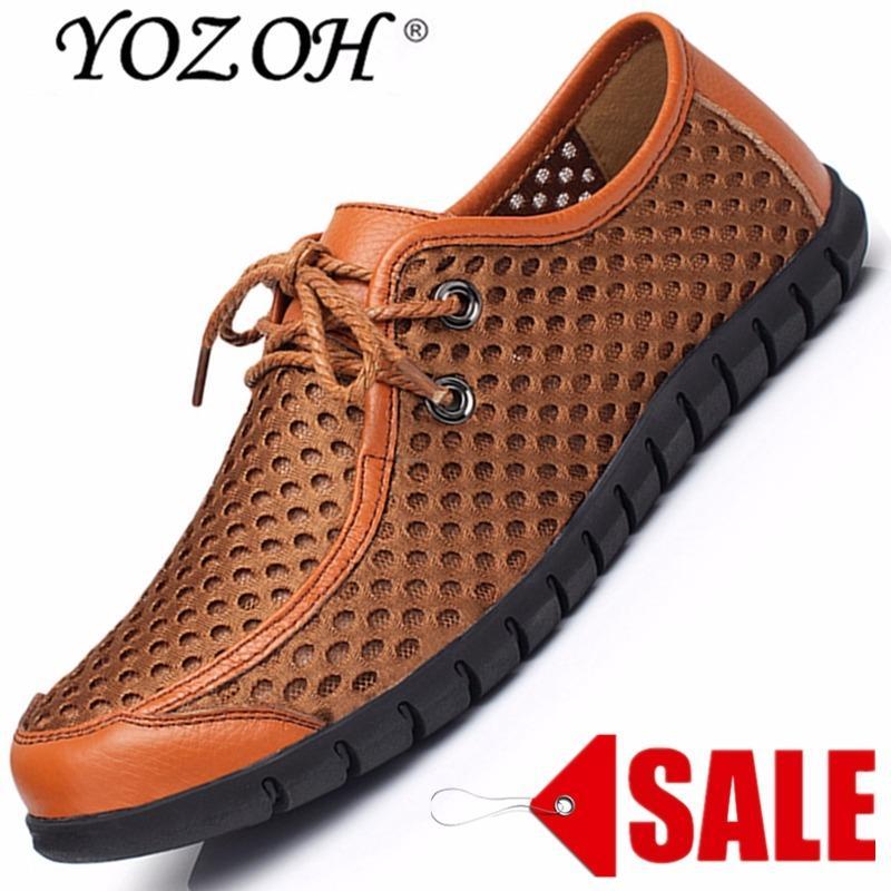 Harga Yozoh Hollow Out Breathable Baru Musim Panas Kulit Sobek Berkualitas Tinggi Fashion Sepatu Kasual Pria Flat Sepatu Santai Brown Intl Original