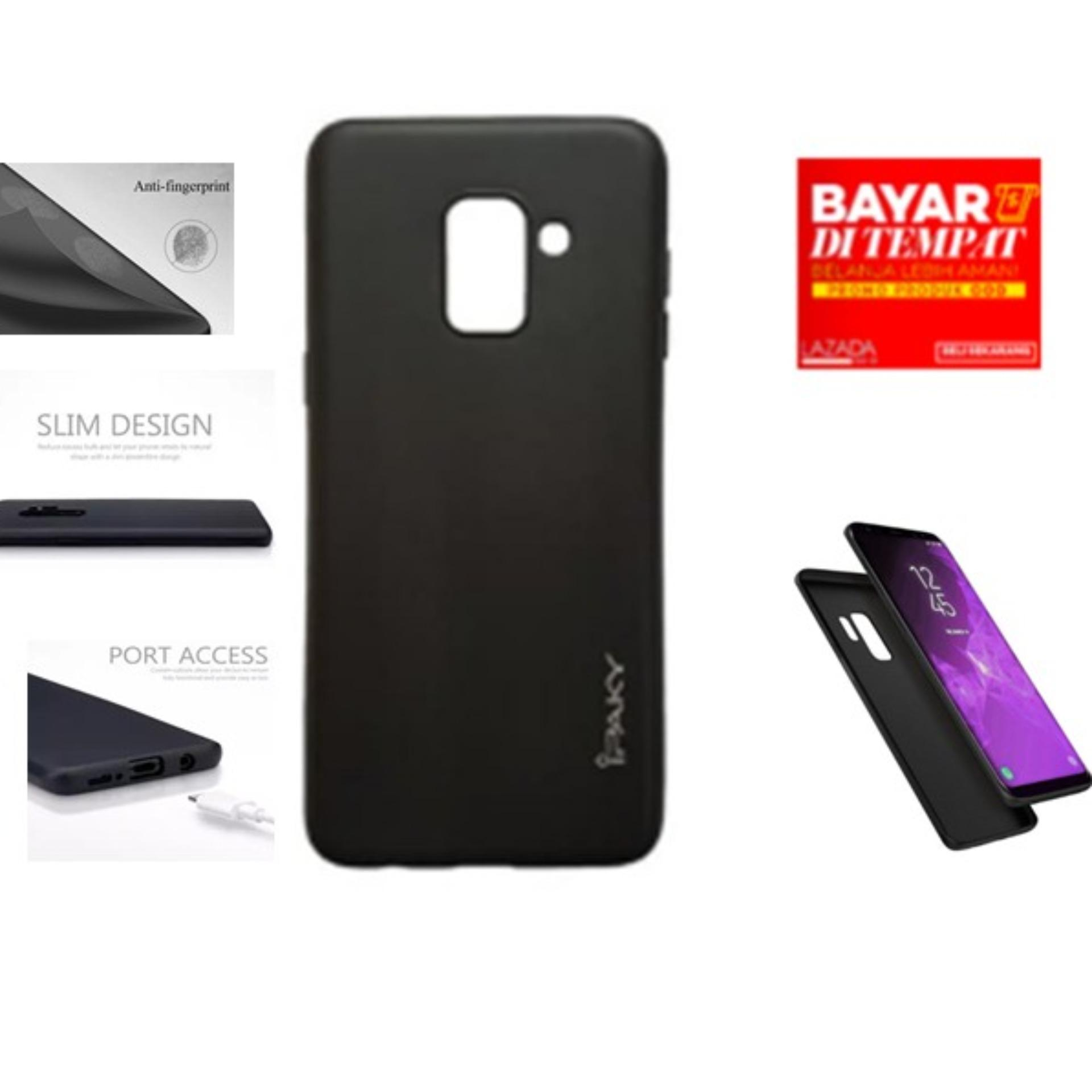 CASE HP SOFTCASE IPAKY SUPER SLIM MATTE ANTI FINGERPRINT HYBRID CASE FOR SAMSUNG GALAXY A8 2018  - FULL BLACK/ CASE SOFTCASE IPAKY SLIM ANTI SLIP SAMSUNG GALAXY A8  2018