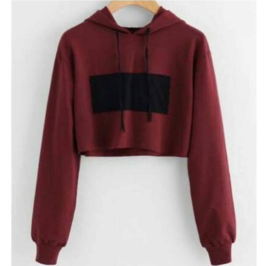 DaveCollection - Sweater basic crop Rectangle - Maroon