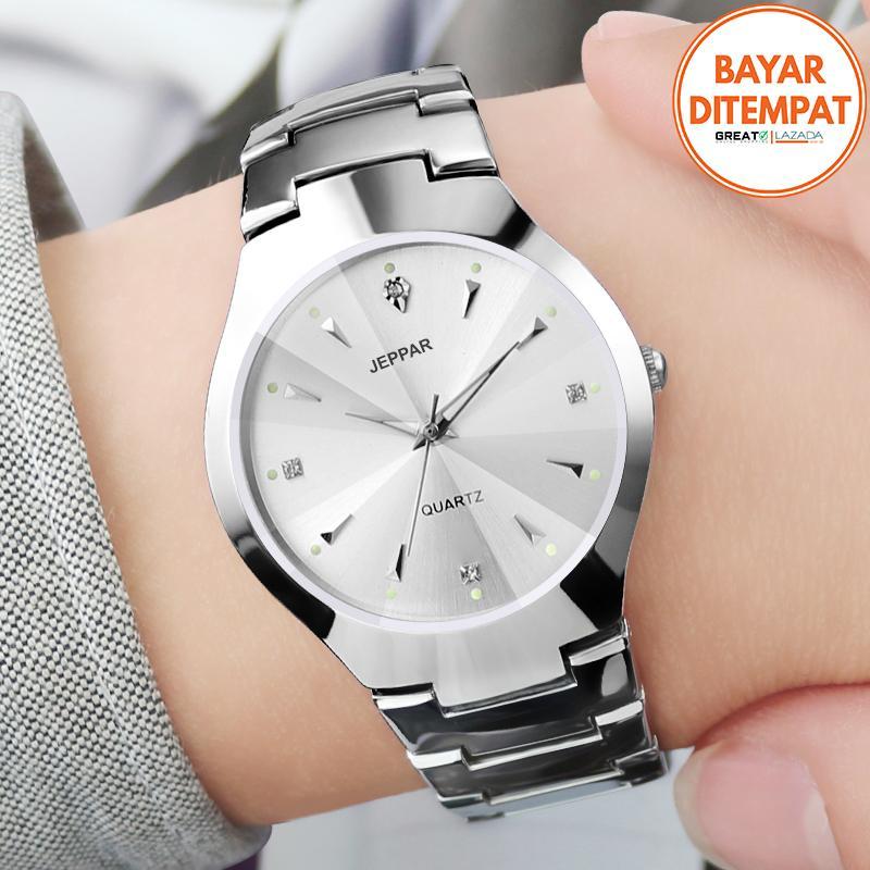 jeppar 260 jam tangan wanita analog fashion casual women strap stainless steel wrist quartz watch – silver