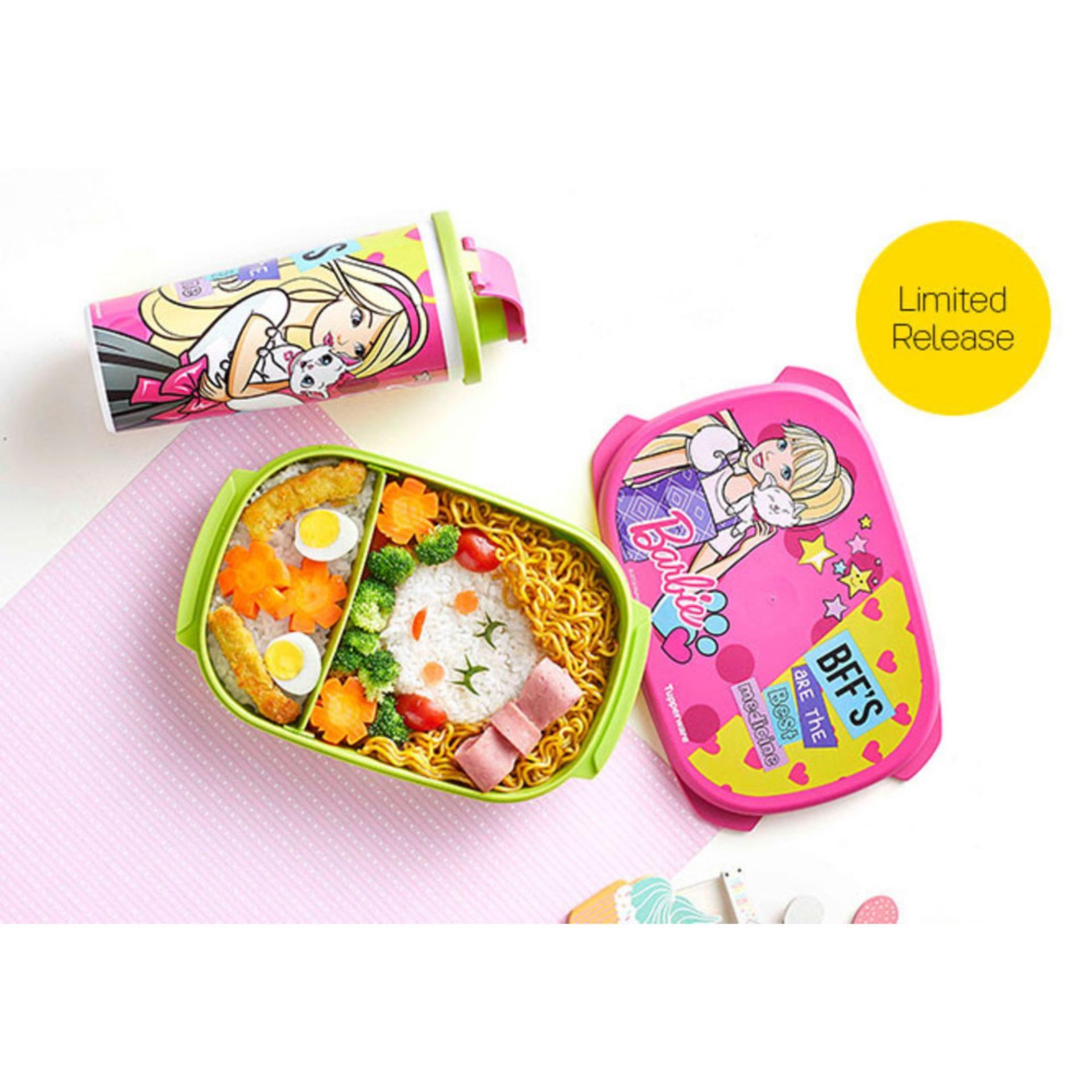 Detail Gambar Tupperware Barbie Lunch Set - BFF Kotak Bekal Botol Minum Promo Tupperware Agustus 2018 Terbaru