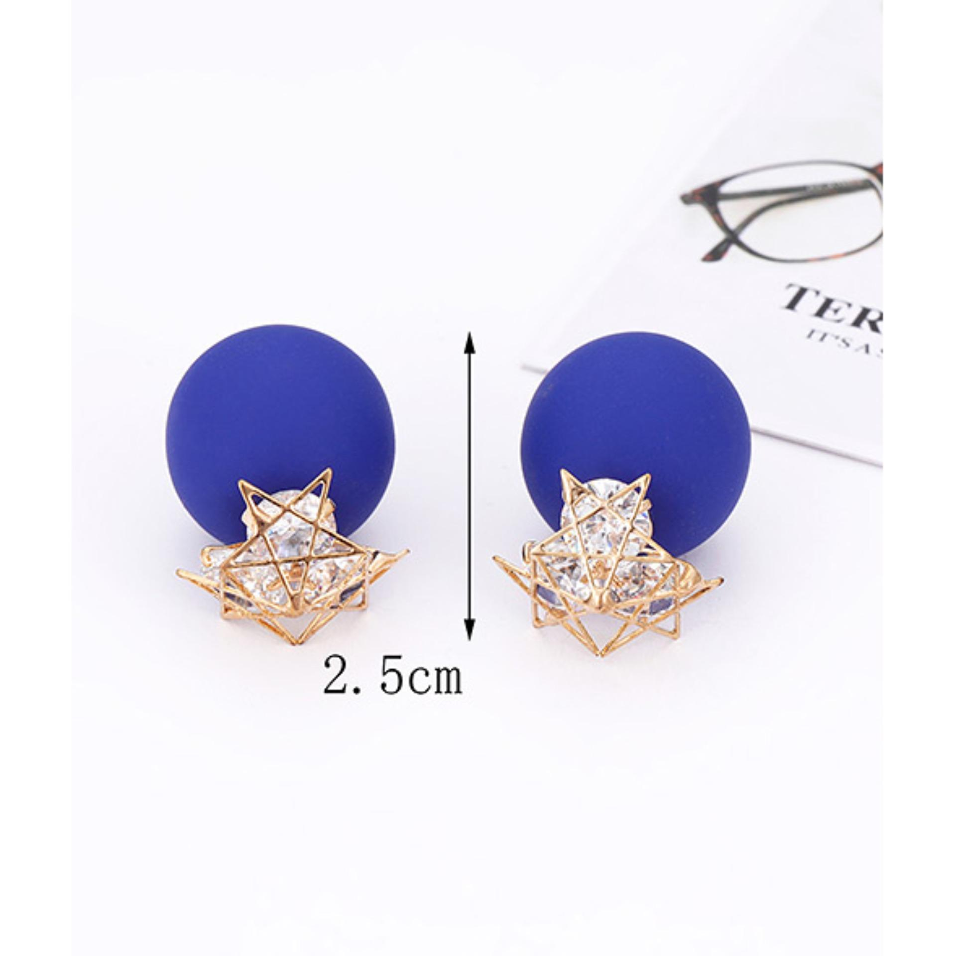 Detail Gambar LRC Anting Tusuk Fashion Sapphire Blue Star Shape Decorated Earrings Terkini