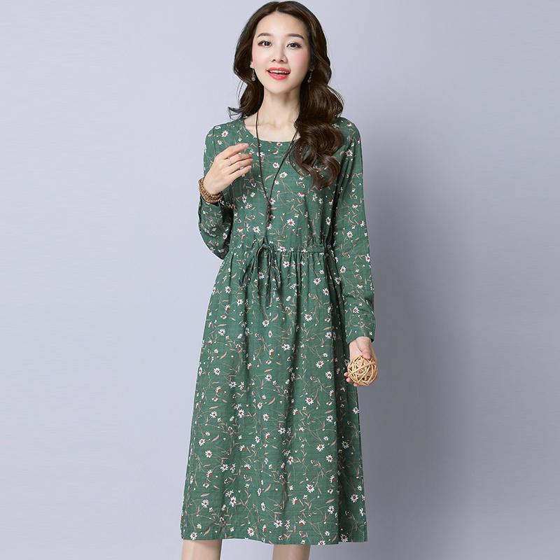 Kain linen gaun lengan panjang Sastra longgar ukuran besar Elastis pinggang Terlihat Langsing Sepatu linen model