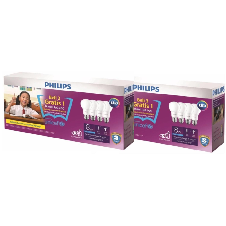 Harga Philips Led 8 Watt Termurah Oktober 2018 Info Daftar Lampu 8w 2 Paket Buah Bohlam Bulb Cool Day Light Putih 1 Isi 4 Pcs