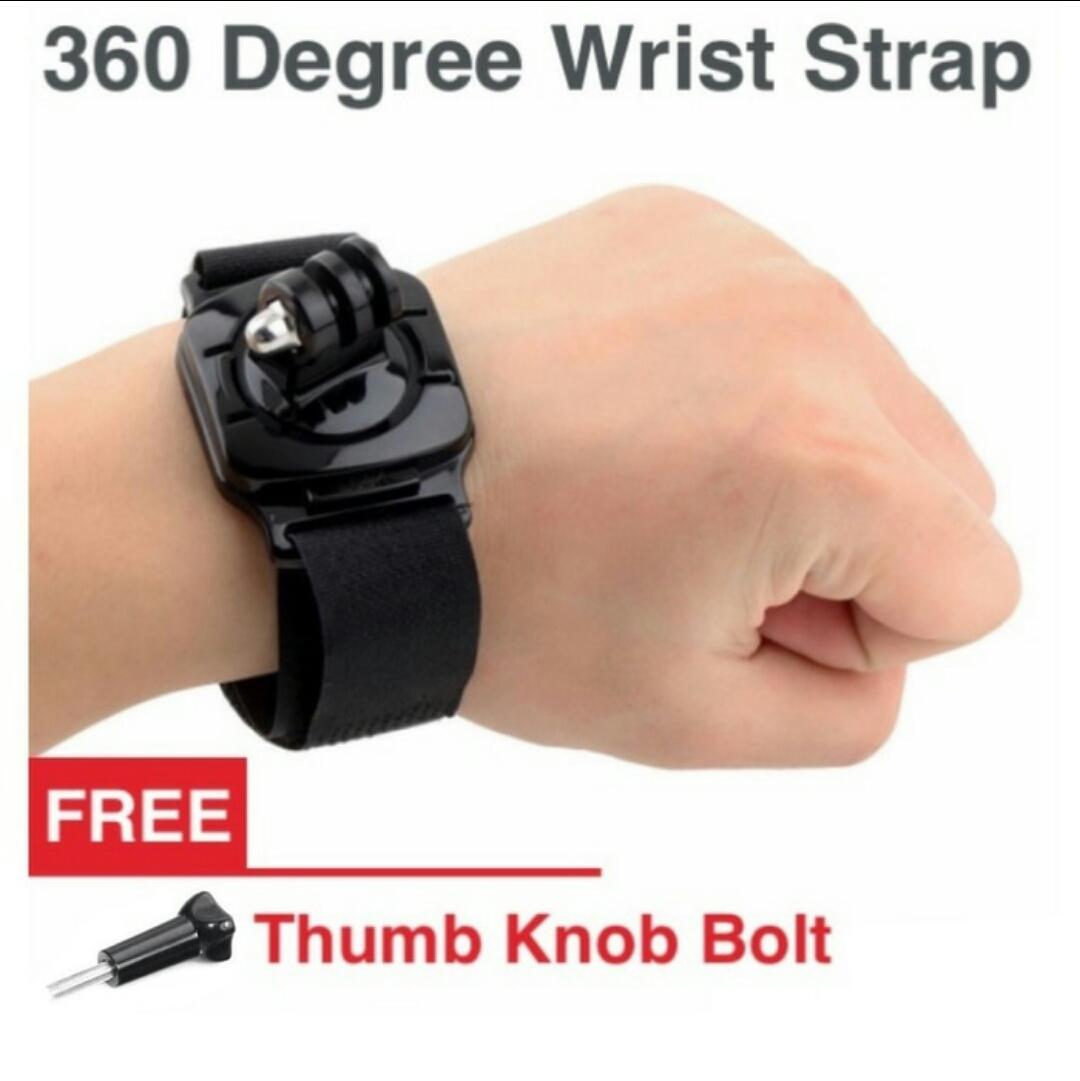 Action cam 360 degree wrist strap