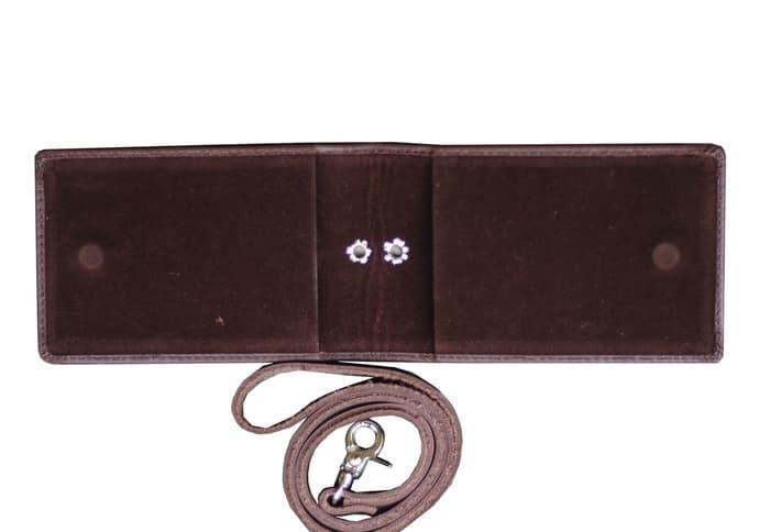 Murah Id Card Holder Double Flip Magnet Tali Kulit Coklat - 5