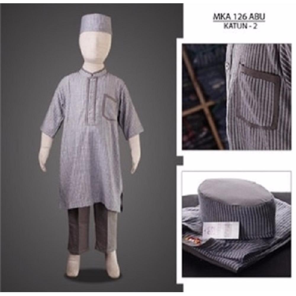 MKA126Abu(8-10tahun) baju koko anak embroidery