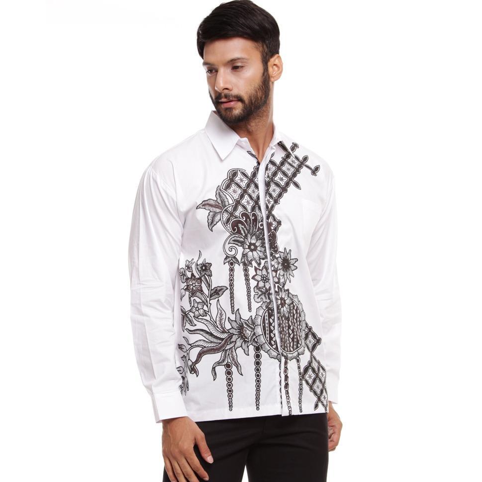 Kemeja Batik Pria Lengan Panjang Motif Bunga Desa Cirebon