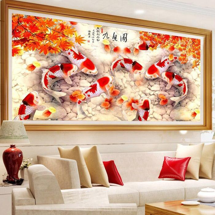 Onemarkets DIY 5D Diamond Painting Lukisan Kerajinan 9 ikan koi maple 150x68CM - D22