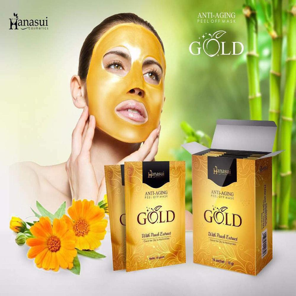 Kehebatan Hanasui Gold Mask Naturgo Peel Off With Extract Peach Masker Bpom Anti Penuaan 1 Box Isi 10 Sachet