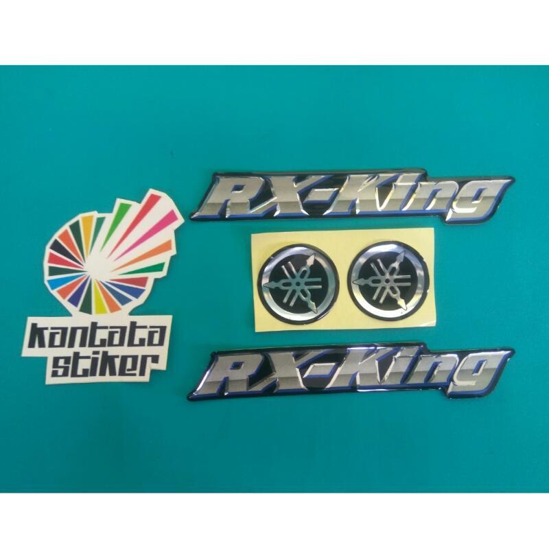 stiker timbul / emblem rx king silver biru