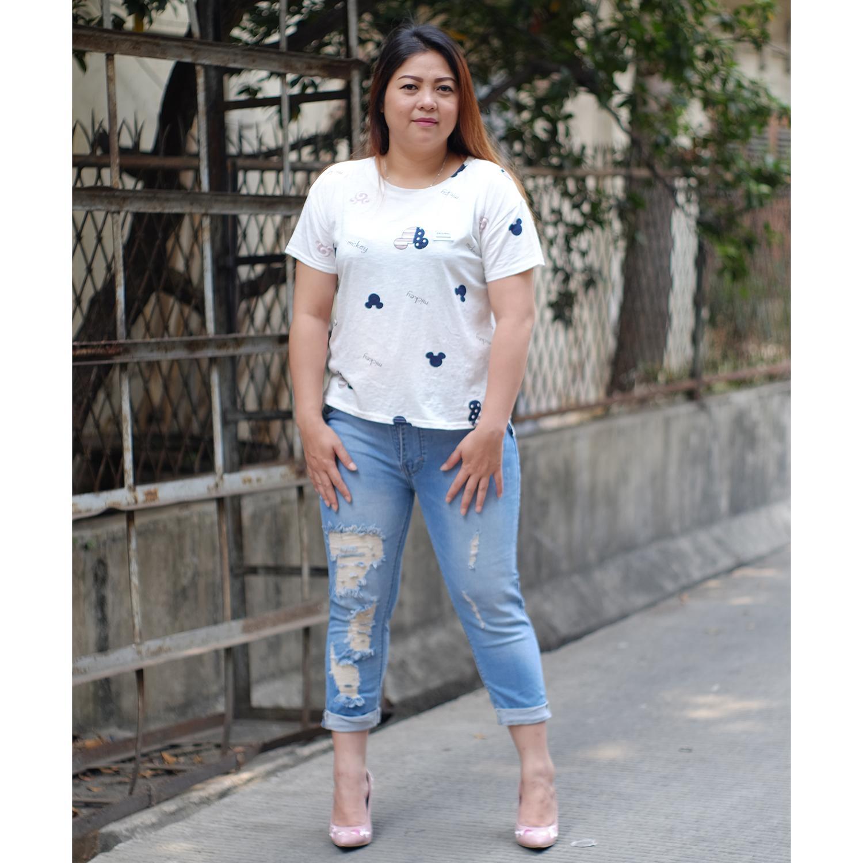 Fitur Rumah Jeans Celana Jumbo Wanita 7per9 7955 Ripped Big Size Sobek Lapis 9249