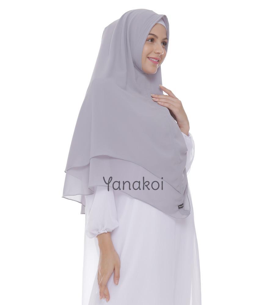 Yanakoi Hijab - Jilbab Kerudung Khimar Syafa Warna Abu Sliver - 4
