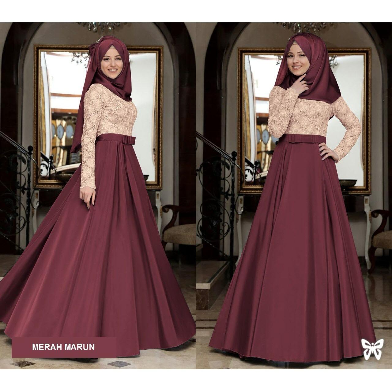 Flavia Store Maxi Dress Lengan Panjang Set 2 in 1 FS0767 - MERAH MARUN / Gamis / Gaun Pesta Muslimah / Baju Muslim Wanita / Hijab / Srmahira