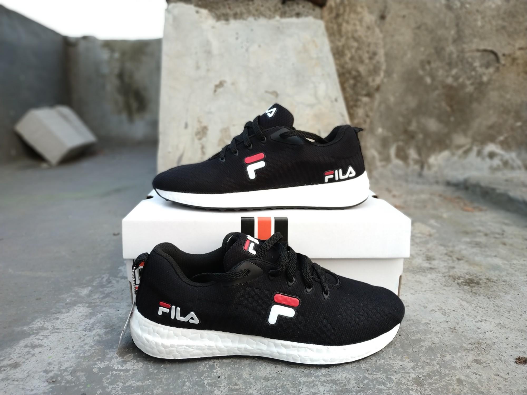 sepatu fila running black white premium - 4