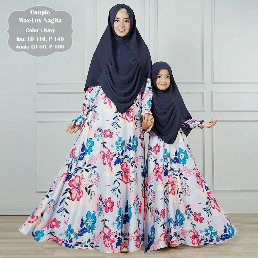Humaira99 Gamis Muslim Syari Couple Ibu dan Anak Dress Hijab Muslimah Atasan Wanita Maxmara Lux