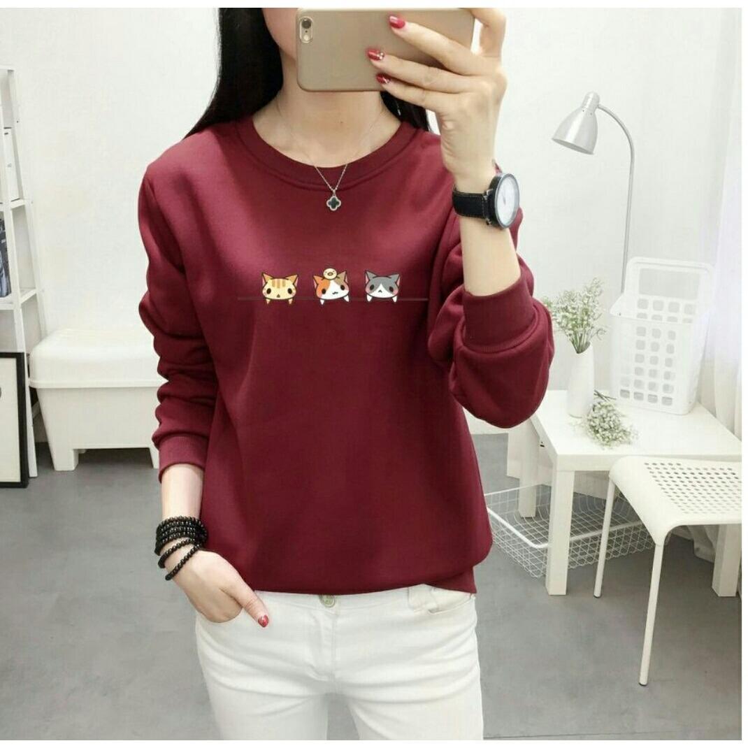 Vanessa Kaos sweater wanita Lengan Panjang / Kaos Polos Vneck Tshirt Distro / Tshirt Wanita / Top W
