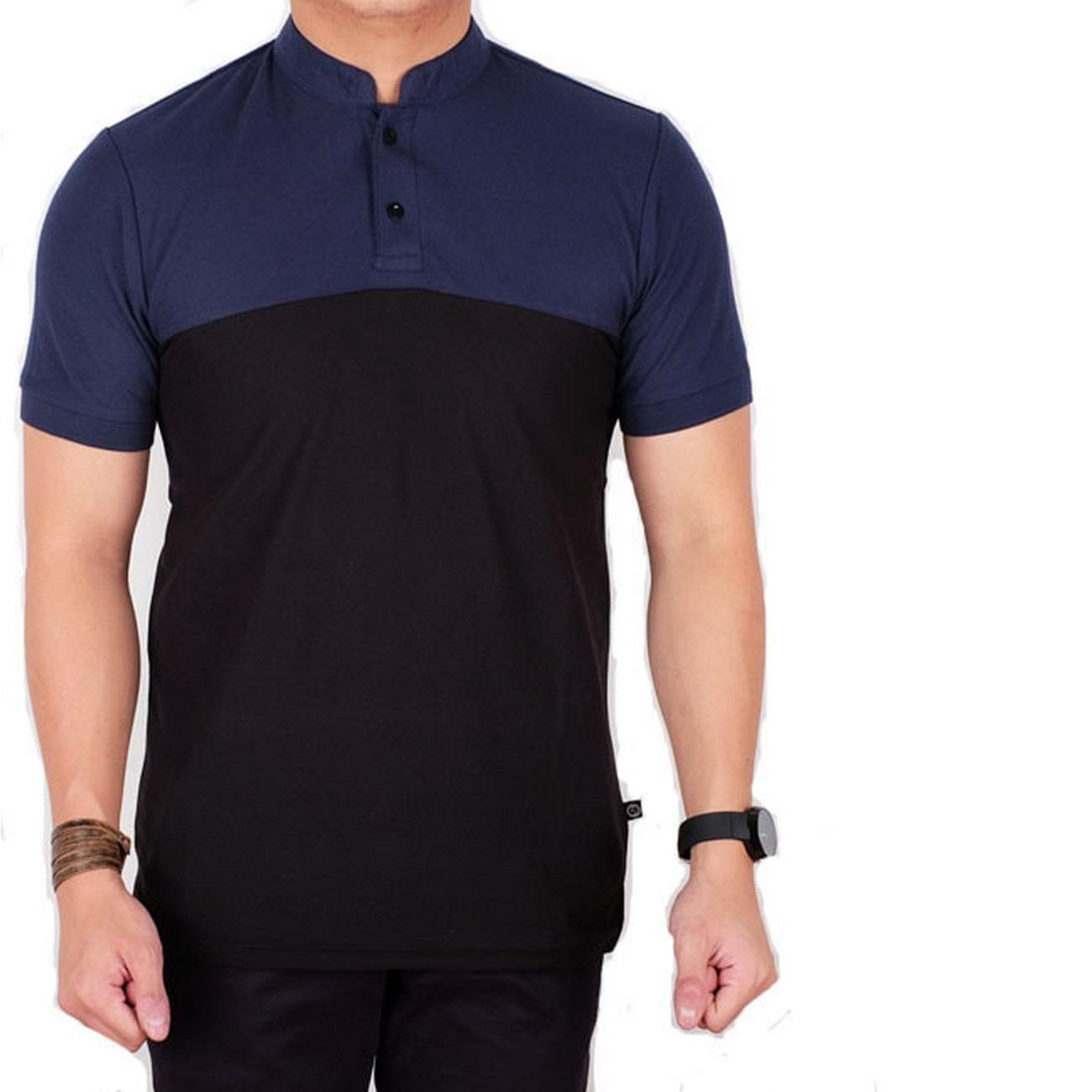 Fitur Shirt Pria Lengan Pendek Putih List Hitam Baju Kaos Polo Kerah Kemeja Polos Kombinasi Navy Sanghai