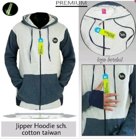 Jaket Sweater Cowok Rsch Kombinasi - Jipper Hoodie - Jaket Distro