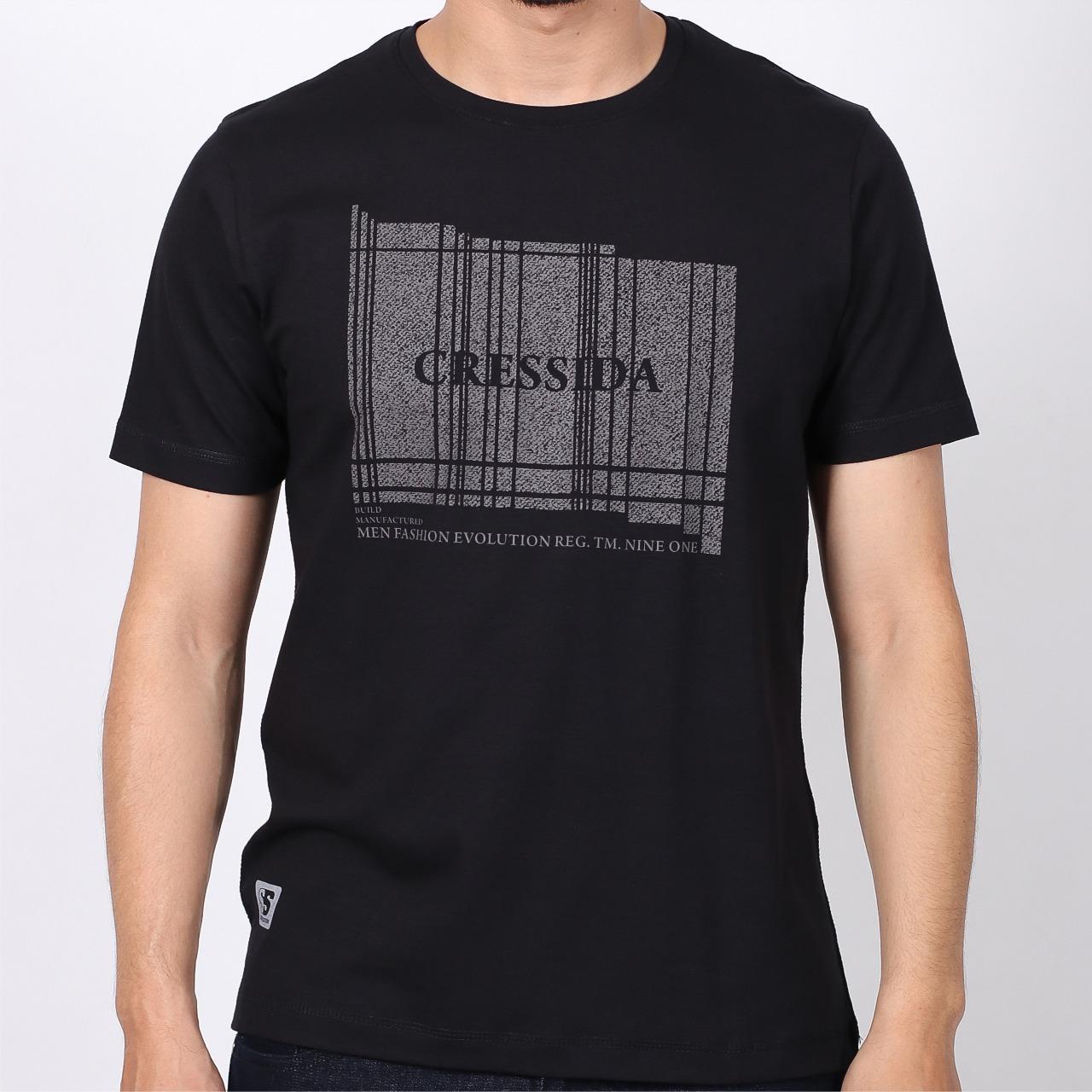 Baju Kaos Pria Cressida Original T-Shirt Cowok Slimfit Lengan Pendek Abu-Hitam