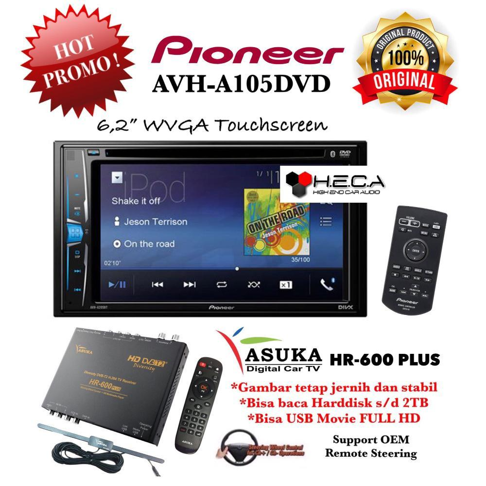 Paket Pioneer AVH-A105DVD Tape Mobil AVH A105 DVD Double Din AVH A 105 Head Unit Audio & TV Tuner Digital Asuka HR-600 Plus