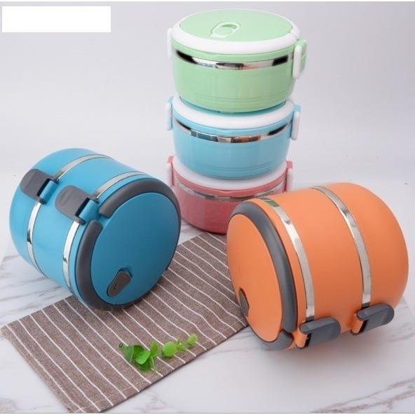 Rantang 2 susun Lunch box eco stainless steel kotak bekal makan HPD098