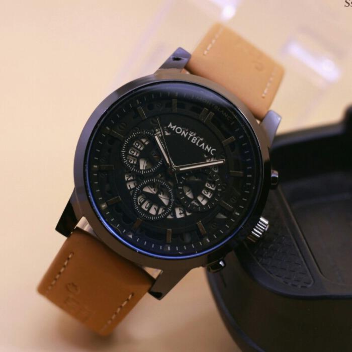 Jam Tangan Fashion Pria Montblanc Tanggal Aktif Leather Strap