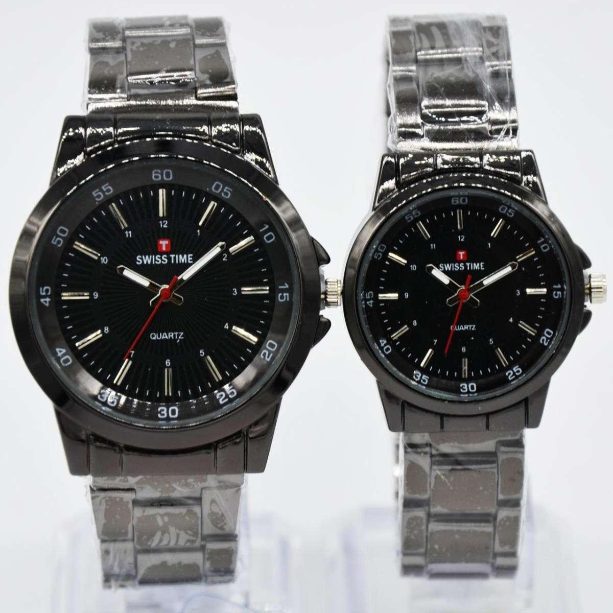 Swiss Time/Army - Jam Tangan Couple Stainless Steel ST2400 Couple