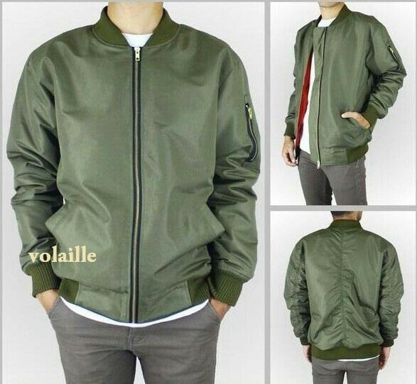 VOLAILLE - jaket bomber pilot pria polos green (hijau) premium - best seller