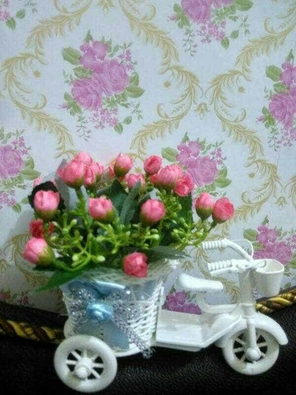 Bunga Plastik Sepeda Hiasan Meja Ruang Tamu Sqaref 2