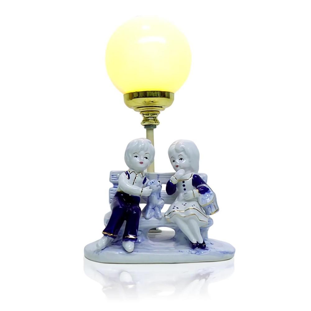 OHOME Lampu Patung EK-DL-1517 Dolomit Couple Dekorasi Interior Pajangan Biru