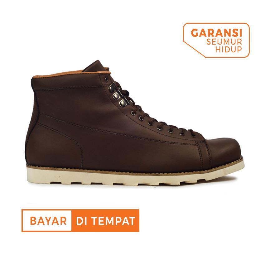Tips Beli Sepatu Sneakers Boots Kulit Pria Giant Flames Hideaki Boots Dark Brown Yang Bagus