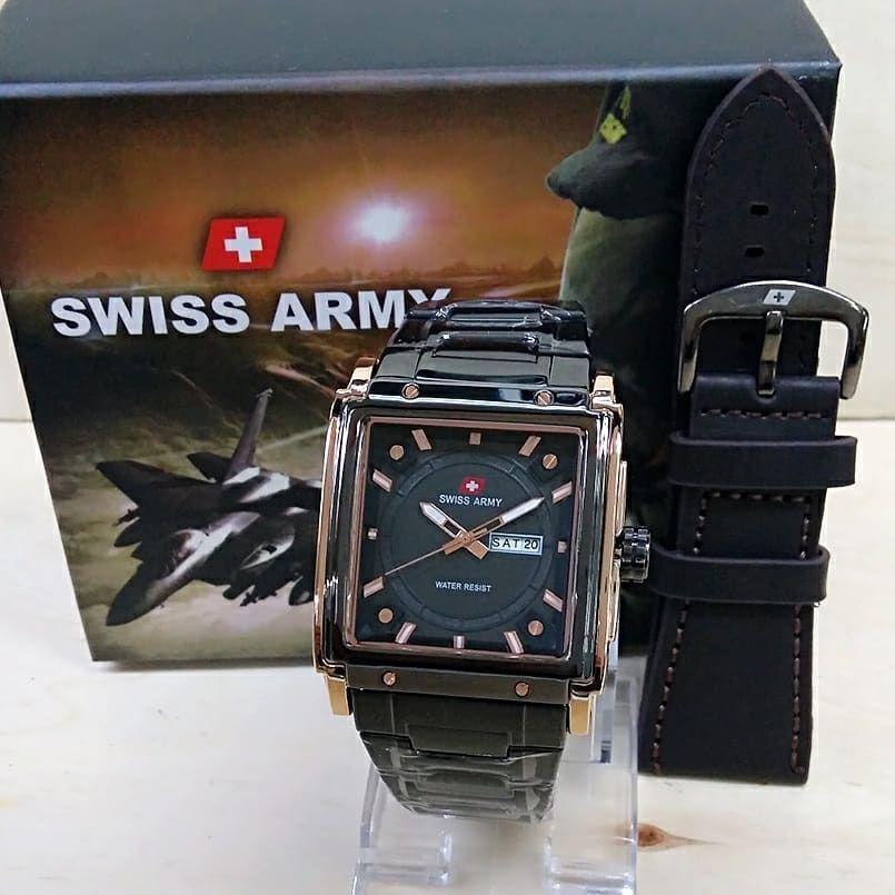 Jual Cepat Swiss Army Trendy Sporty Fashion Jam Tangan Pria Crono Tanggal Aktif Tali Rantai Stainnless Free Kotak Swiss Army Tali Kulit Model Terbaru