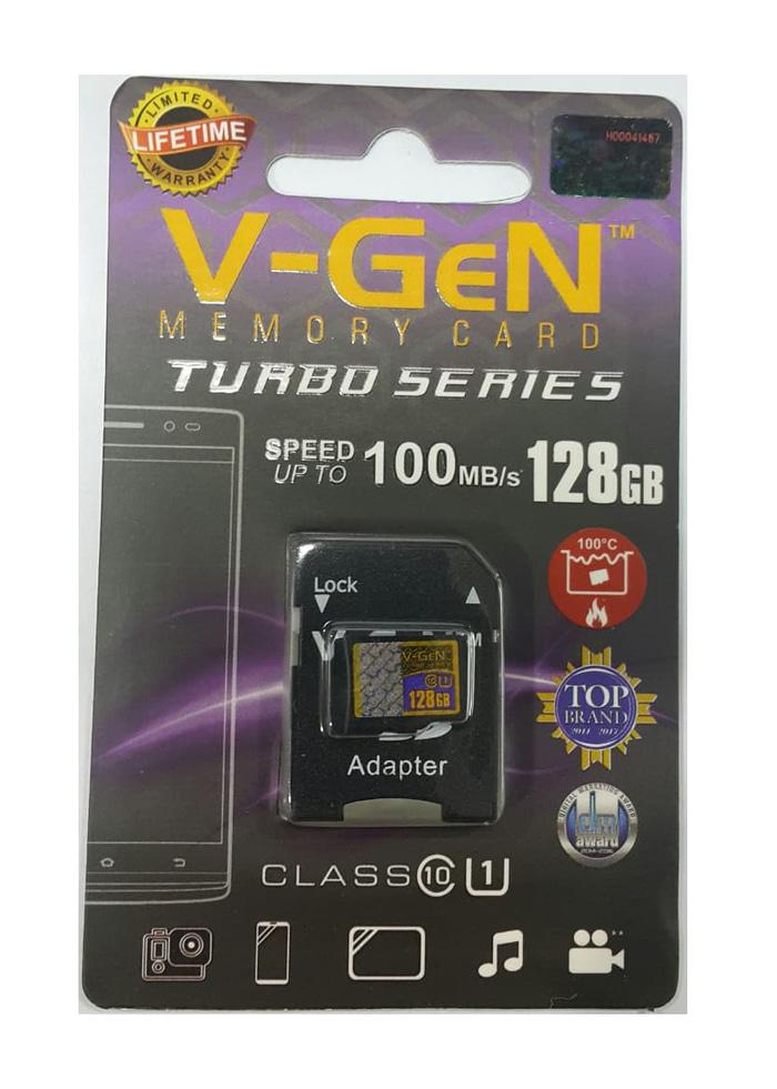 Micro SDXC V-GeN Turbo 128GB + Adapter Class 10 100MB/S - MicroSD VGEN Memory HP