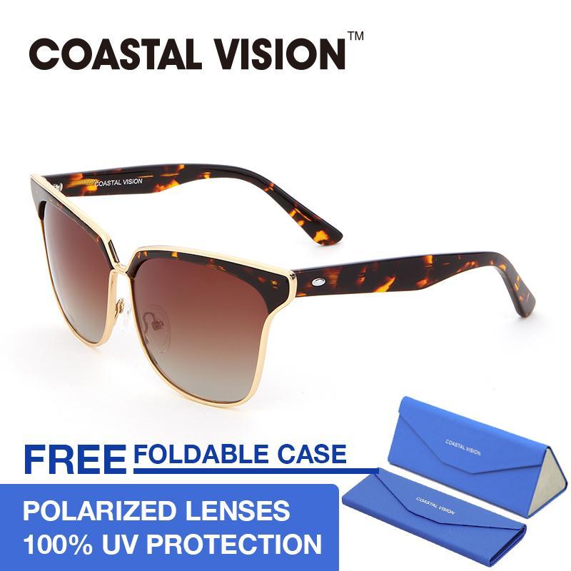 Spek Coastal Vision Kacamata Polarized Wanita Tortoise Cat Eye Lensa Anti Uva B Cvs5023