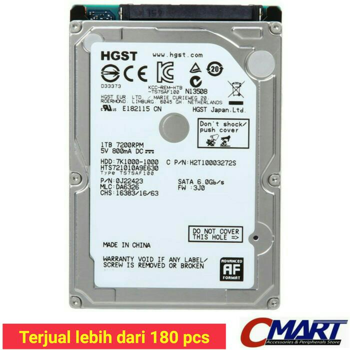 ORIGINAL - Hitachi HGST Laptop 1TB 7200RPM Notebook HDD hardisk harddisk Internal
