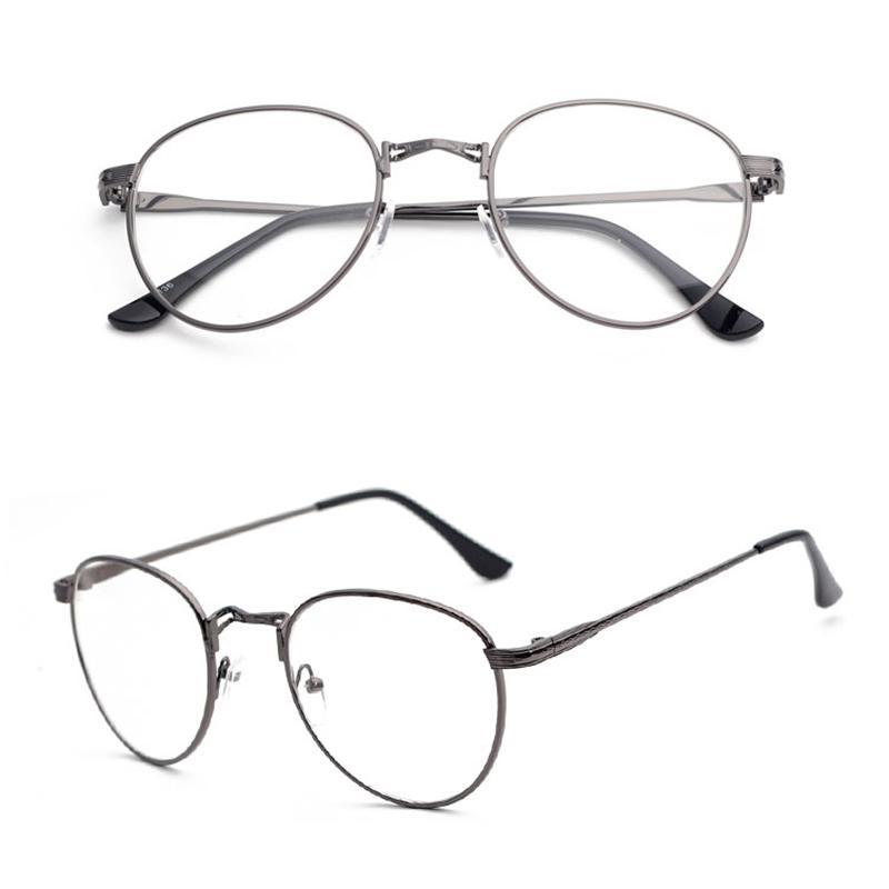 Kacamata minus Gaya Korea pasang Logam Bundar tidak berderajat Bingkai  Kacamata Retro wanita bingkai kacamata Model 0fe8f99419
