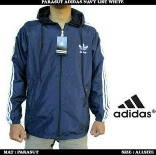 Jaket Parasut Adidas Navy List Putih L