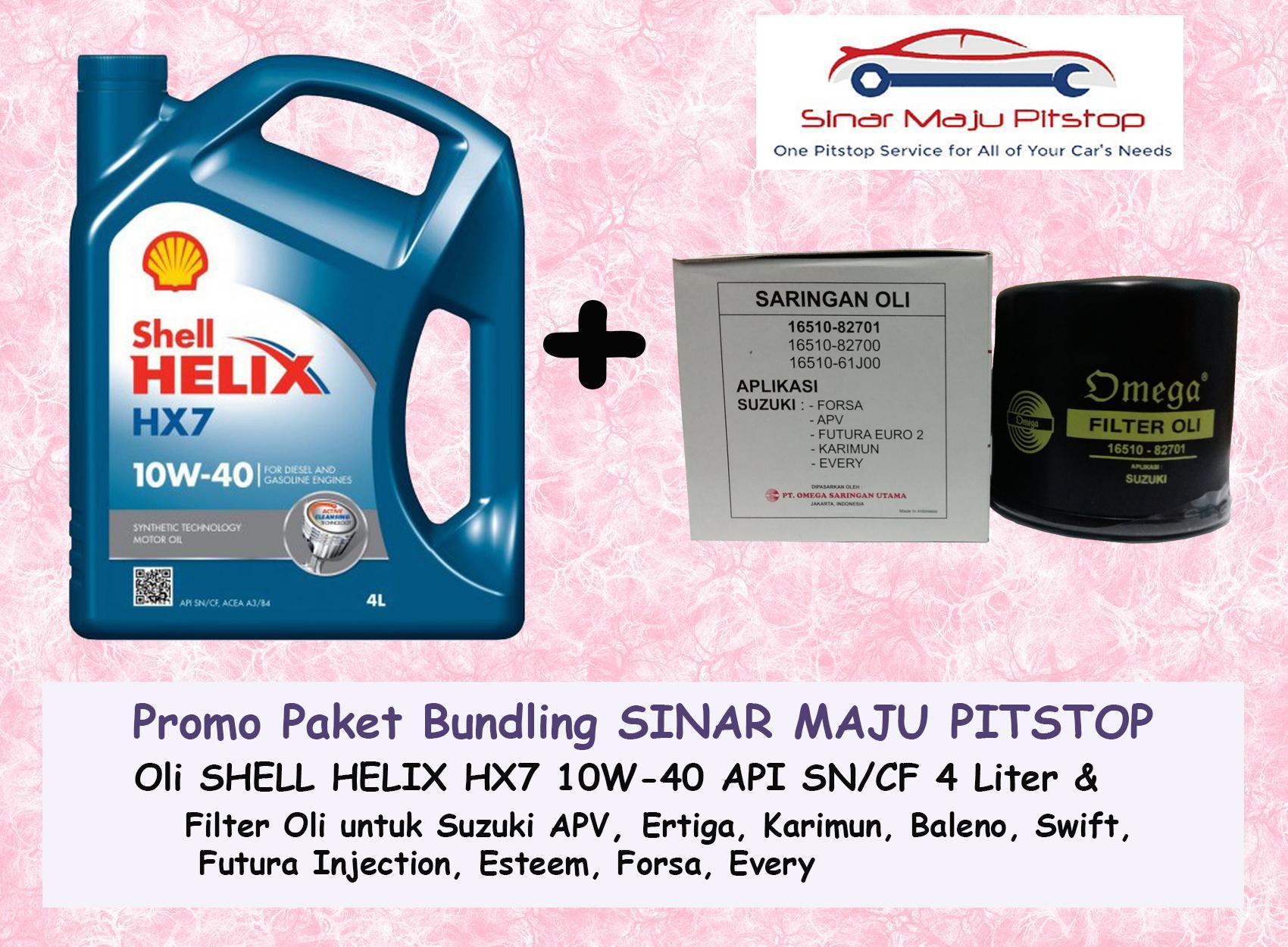 Paket Bundling Oli Mobil SHELL HELIX HX7 10W 40 API SN 4 LITER SEGEL HOLOGRAM