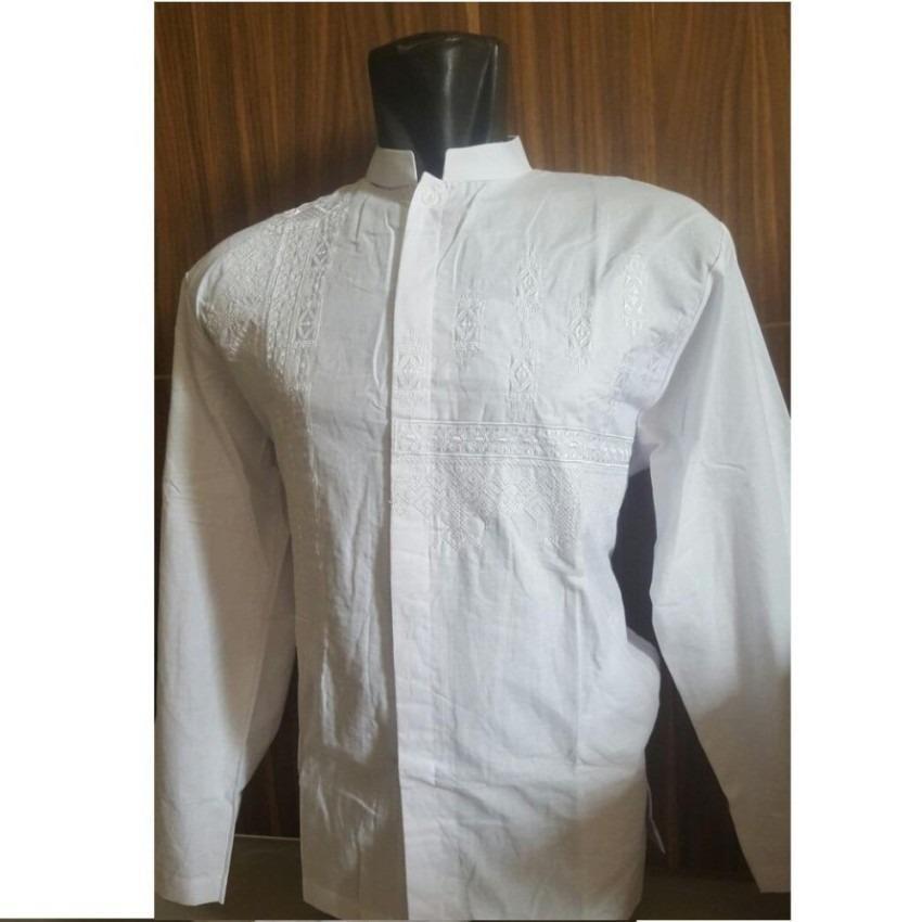 Harga Baju Koko Pria Katun Bordir Putih Lengan Panjang Paling Murah