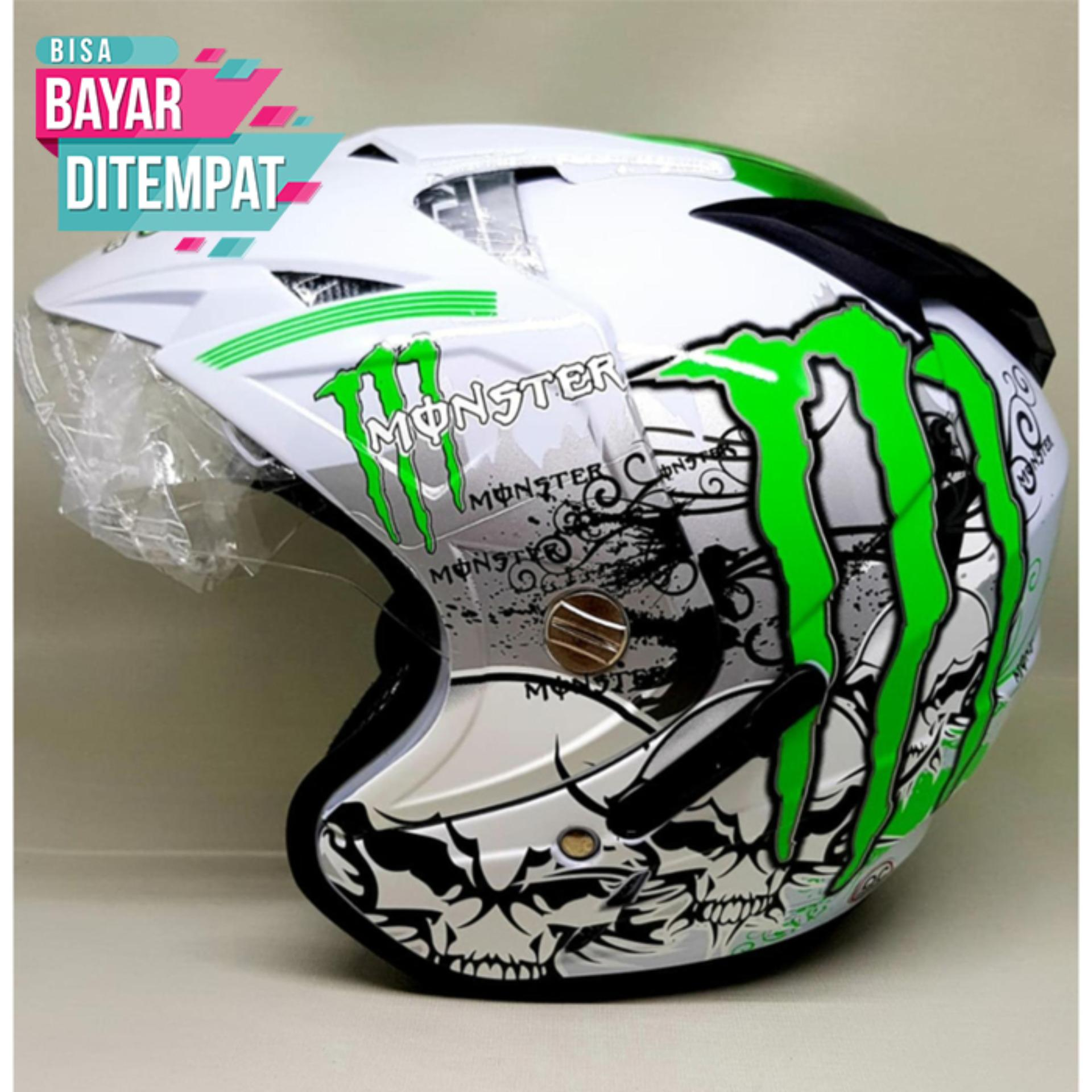 Fitur Snail Helmet Motocross Single Visor Mx 310 Supermoto Motif White With Revo Blue Double Tgp Monster Putih