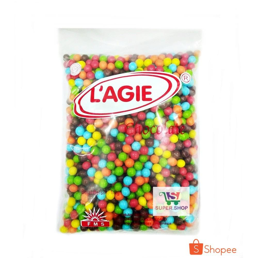 Lagie Golden City Mini Cokelat Aneka Warna 1 KG Kiloan