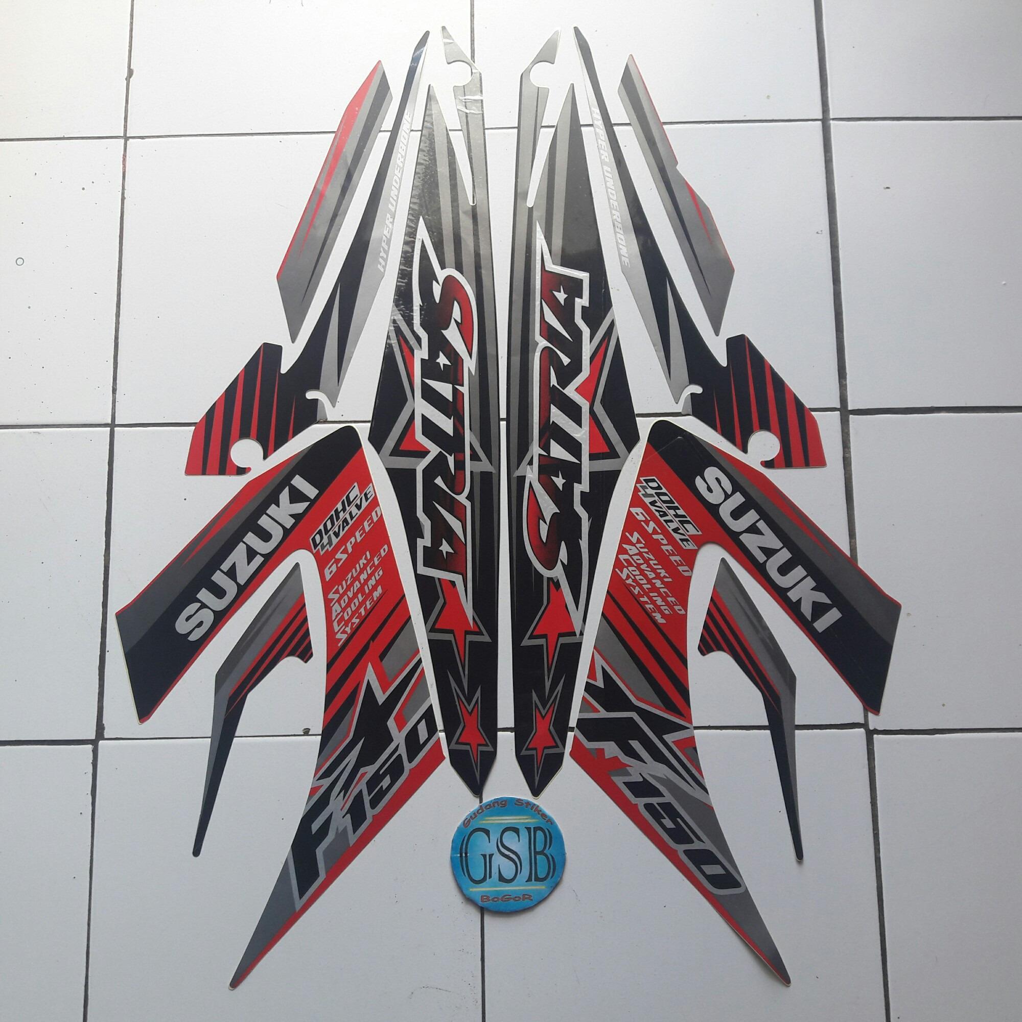 Harga Stiker Striping Motor suzuki satria f150 2014 hitam-merah