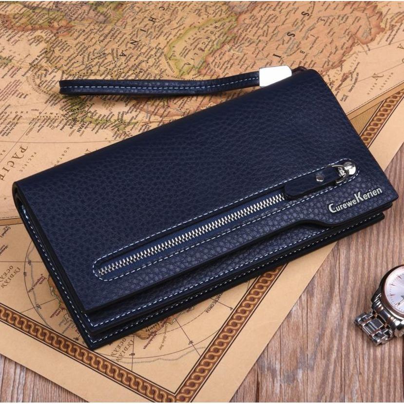 Fashion Leather Wallet Curewe Kerien X-869 Pria Dompet Kulit Mens Business Long Wallet Cowo