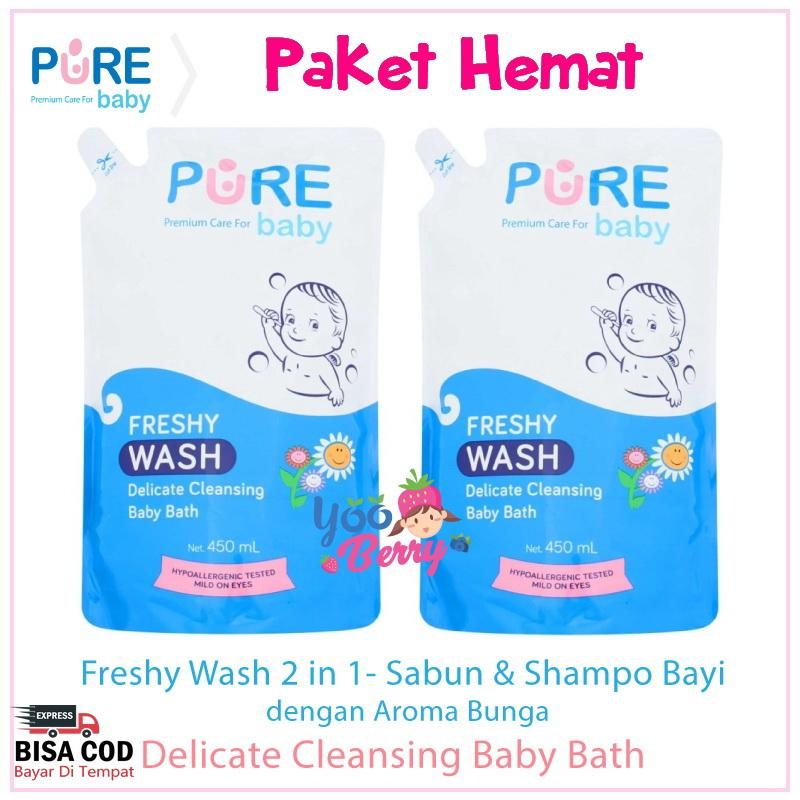 Paket 2 Pak Pure Baby Wash Sabun Bayi dan Anak Freshy & Fruity Refill 450 ml YooBerry