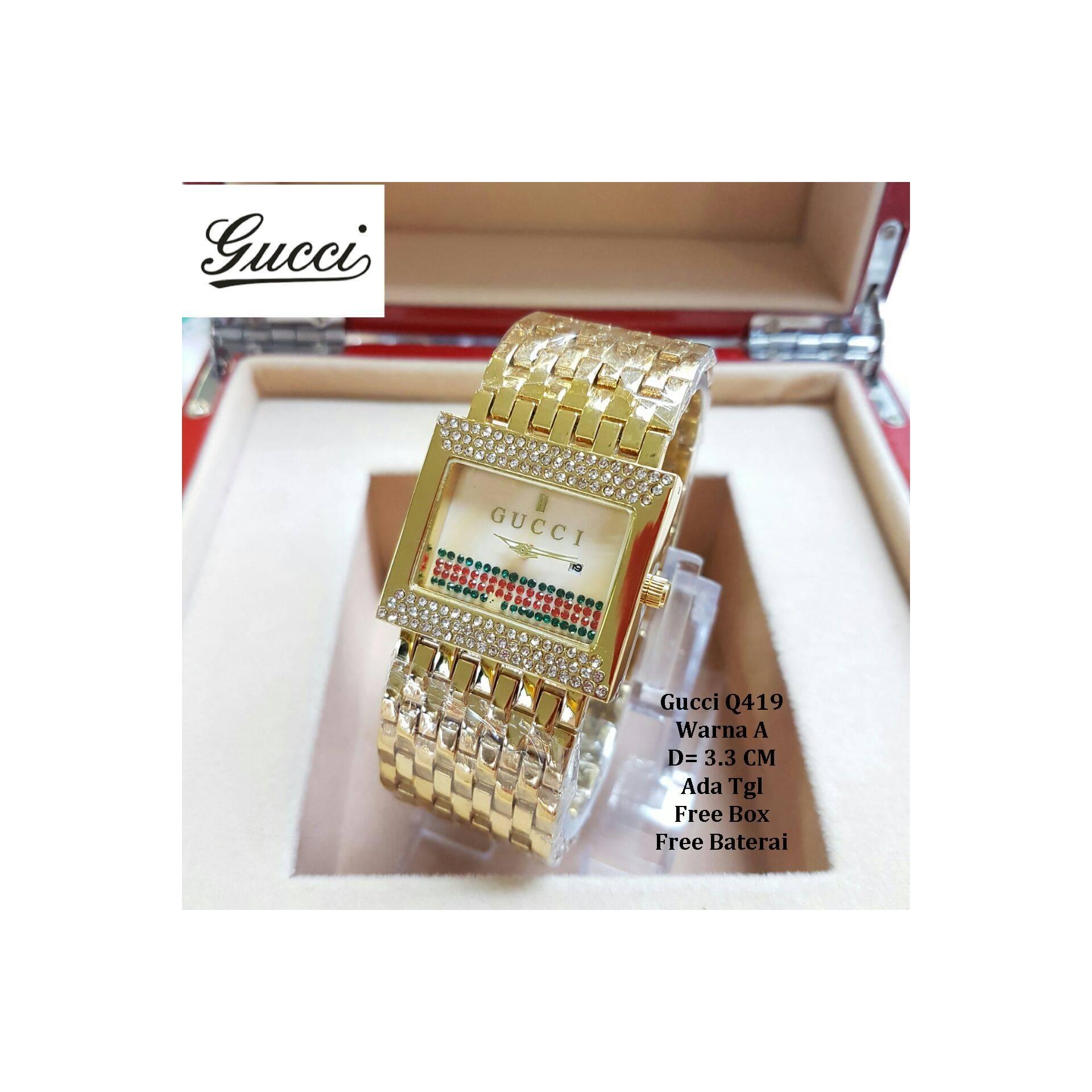 Jam Tangan Wanita / Jam Tangan Murah Gucci Delica Full Gold + Box