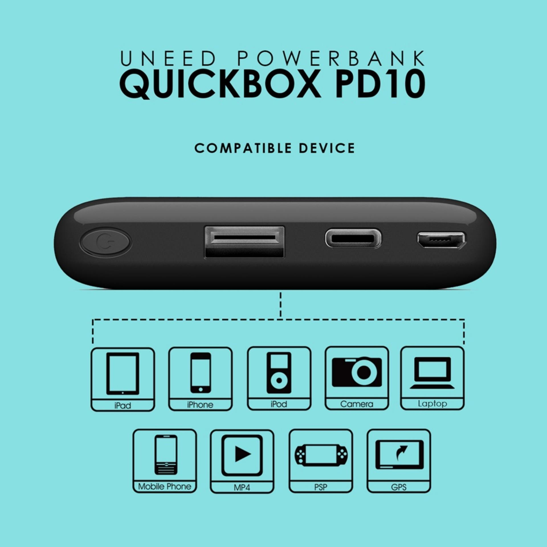 Uneed Powerbank 12000mah Qualcomm Quick Charge 3 0 Quickbox Dual Usb 30 12 Black Pd10 10000mah With Power Delivery