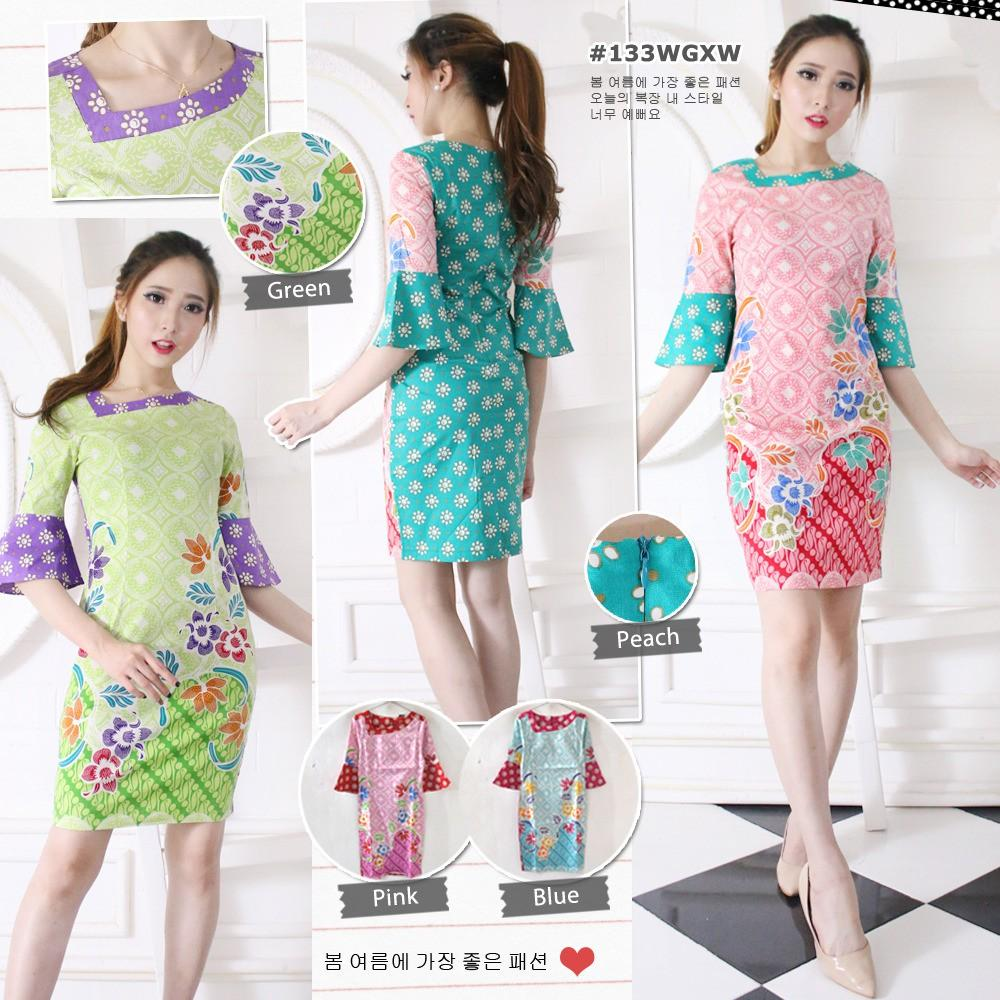 DRESS 133 WGXW#- MINI DRESS BATIK LENGAN TROMPET- DRESS MODEL BARU- DRESS PESTA- BATIK MODERN