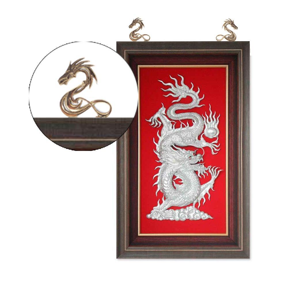 10cm Kaligrafi Figura Gantungan Kuningan / Brass Frame Hanger - Dragon